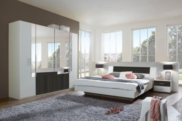 Ložnicový komplet Dora - komplet, postel 180cm (alpská bílá, zrcadlo, wenge)