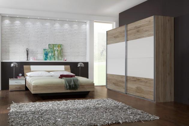 Ložnicový komplet Dora - komplet, postel 180cm (dub, alpská bílá)