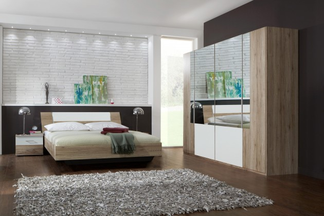 Ložnicový komplet Dora - komplet, postel 180cm (dub, zrcadlo, alpská bílá)