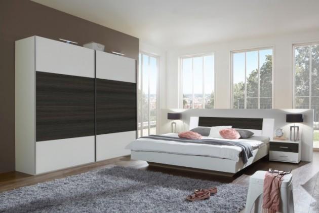 Ložnicový komplet Dora - komplet velký, postel 160cm (alpská bílá, wenge)