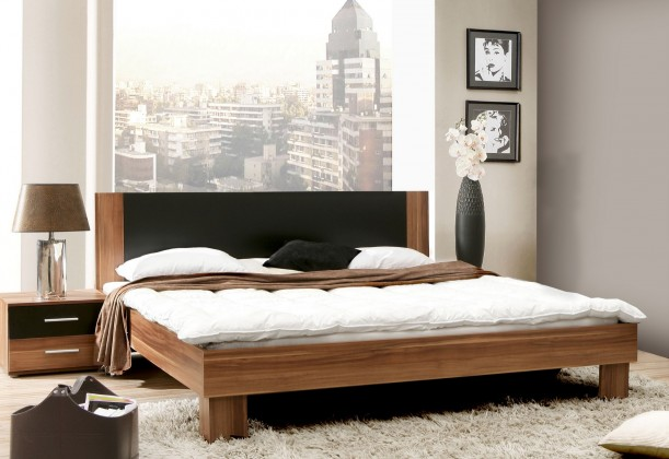 Ložnicový komplet Helen - komplet, postel 180cm (matná černá, italský ořech)