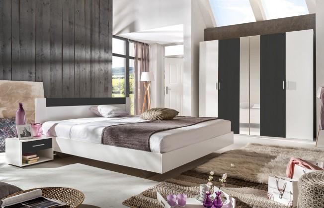 Ložnicový komplet Ilona - Komplet 3, postel 140 cm (alpská bílá, antracit)