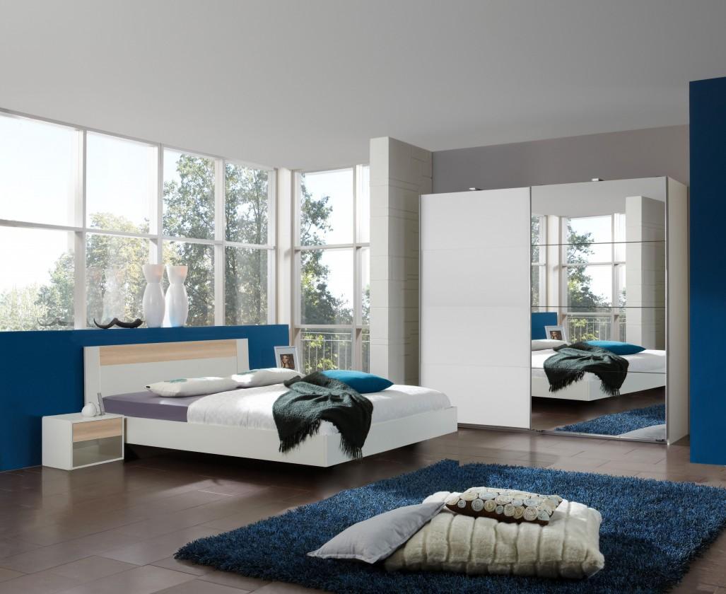 Ložnicový komplet Ilona - Komplet 4, postel 140 cm (alpská bílá, buk)