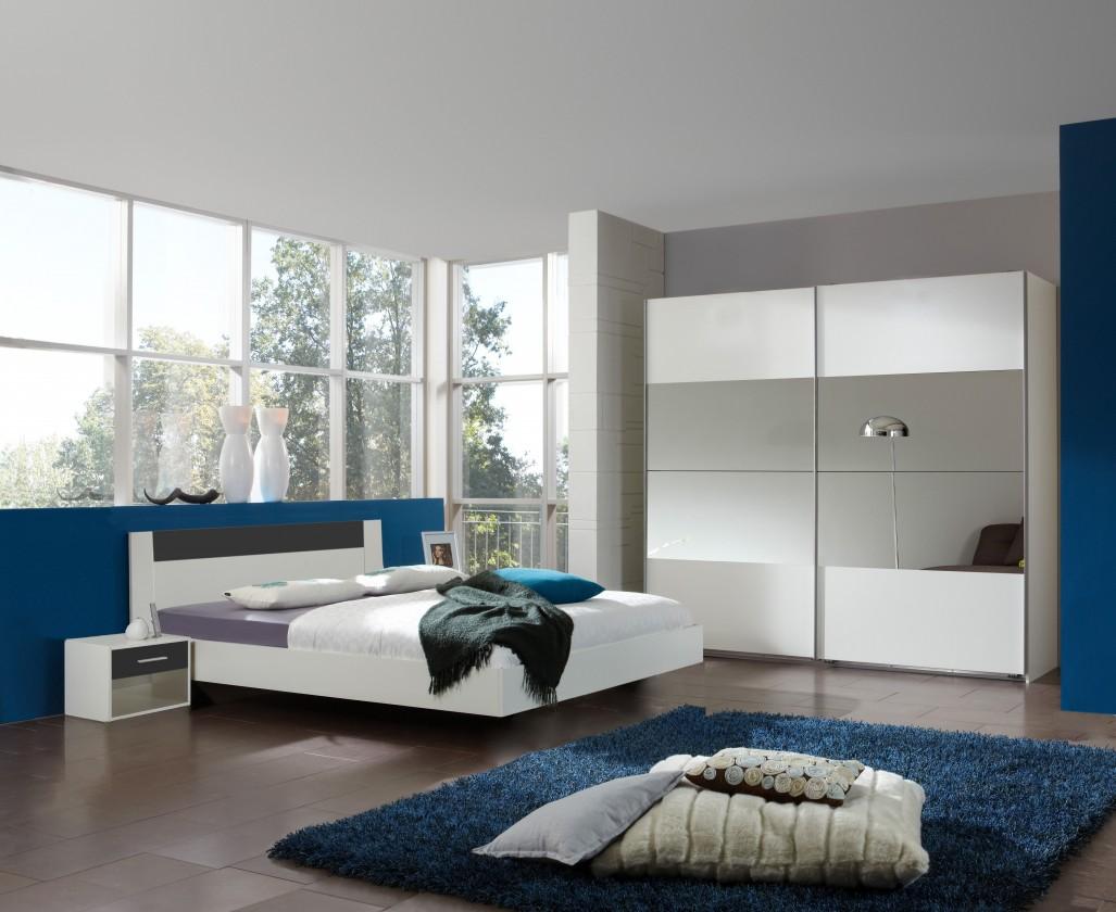 Ložnicový komplet Ilona - Komplet 5, postel 140 cm (alpská bílá, antracit)