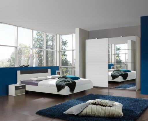 Ložnicový komplet Ilona - Komplet 6, postel 180 cm (alpská bílá, grafit)