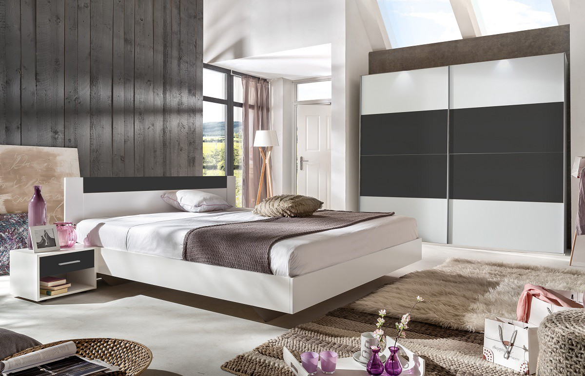 Ložnicový komplet Ilona - Komplet, postel 160 cm (alpská bílá, antracit)
