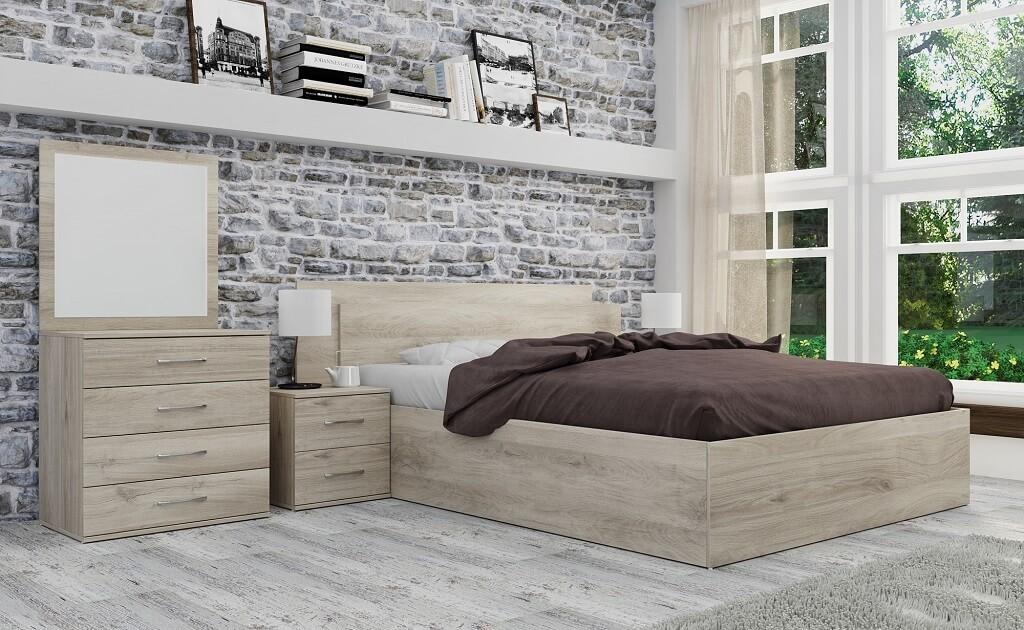 Ložnicový komplet Ložnicový komplet Ramon-rám postele, komoda, 2 noční stolky
