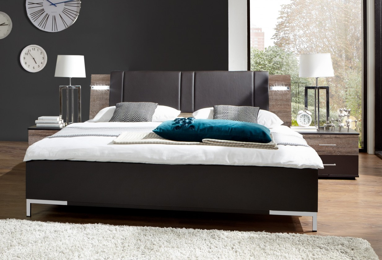 Ložnicový komplet Madeira - Set postel 160x200 + 2x noční stolky (dub/láva)