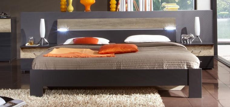 Ložnicový komplet Madrid - Komplet, postel 160 cm (lava černá/divoký dub)