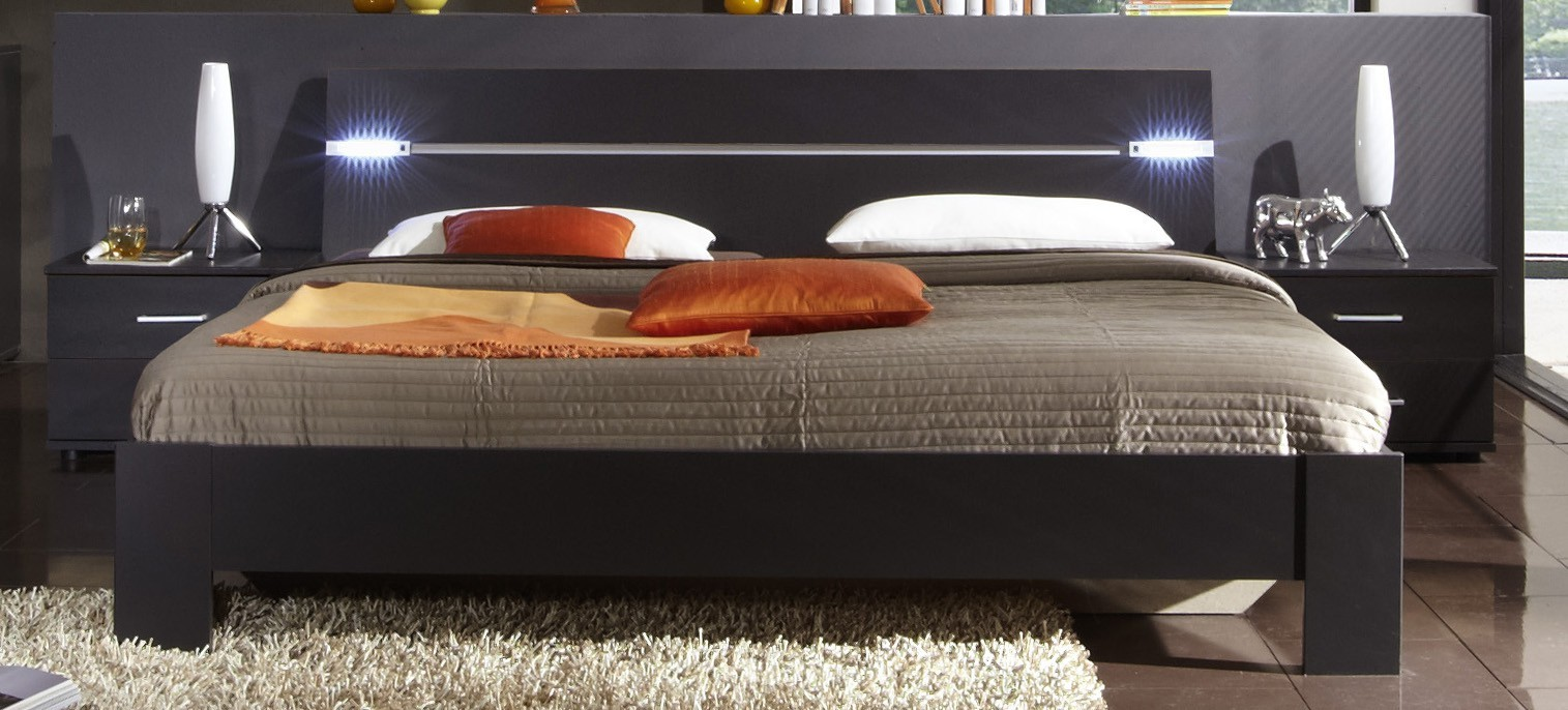 Ložnicový komplet Madrid - Komplet, postel 180 cm (lava černá)