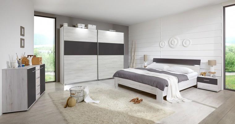 Ložnicový komplet Madrid - Komplet velký 2, postel 180 cm (dub bílý/lava černá)