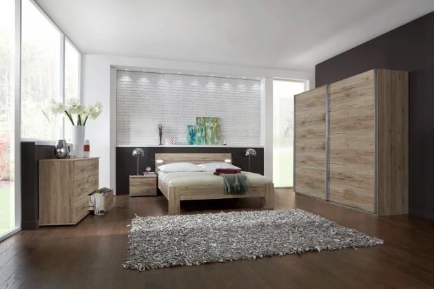 Ložnicový komplet Madrid - Komplet velký 2, postel 180 cm (dub san remo)