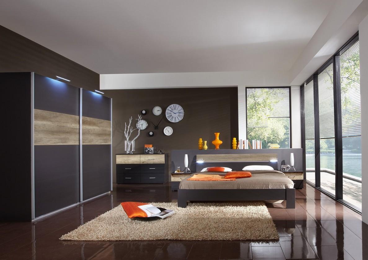 Ložnicový komplet Madrid - Komplet velký 2, postel 180 cm (lava černá/divoký dub)