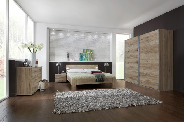 Ložnicový komplet Madrid - Komplet velký, postel 160 cm (dub san remo)