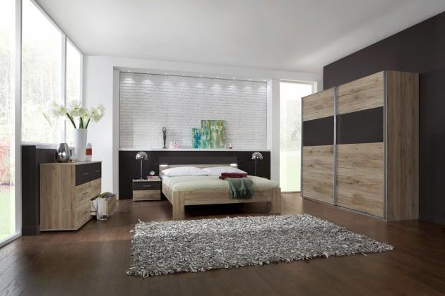 Ložnicový komplet Madrid - Komplet velký, postel 160 cm (dub san remo/lava černá)