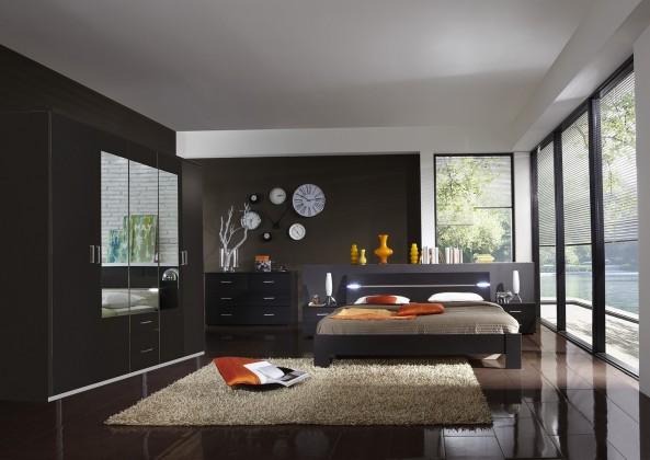 Ložnicový komplet Madrid - Komplet velký, postel 160 cm (lava černá)