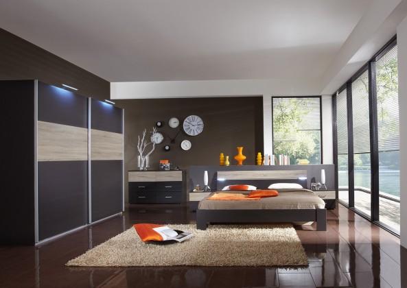 Ložnicový komplet Madrid - Komplet velký, postel 160 cm (lava černá/dub)