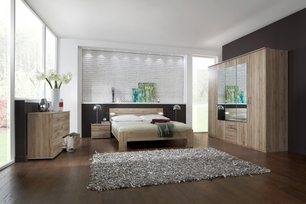 Ložnicový komplet Madrid - Komplet velký, postel 180 cm (dub san remo)