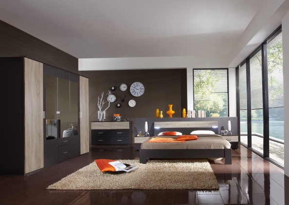 Ložnicový komplet Madrid - Komplet velký, postel 180 cm (lava černá/dub)