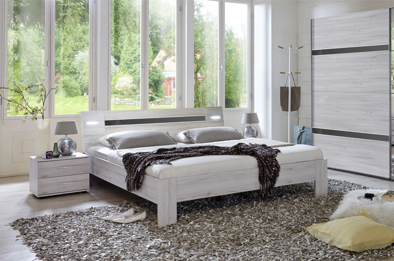 Ložnicový komplet Nizza - komplet, postel 160cm (dub bílý,šedá vysoký lesk)