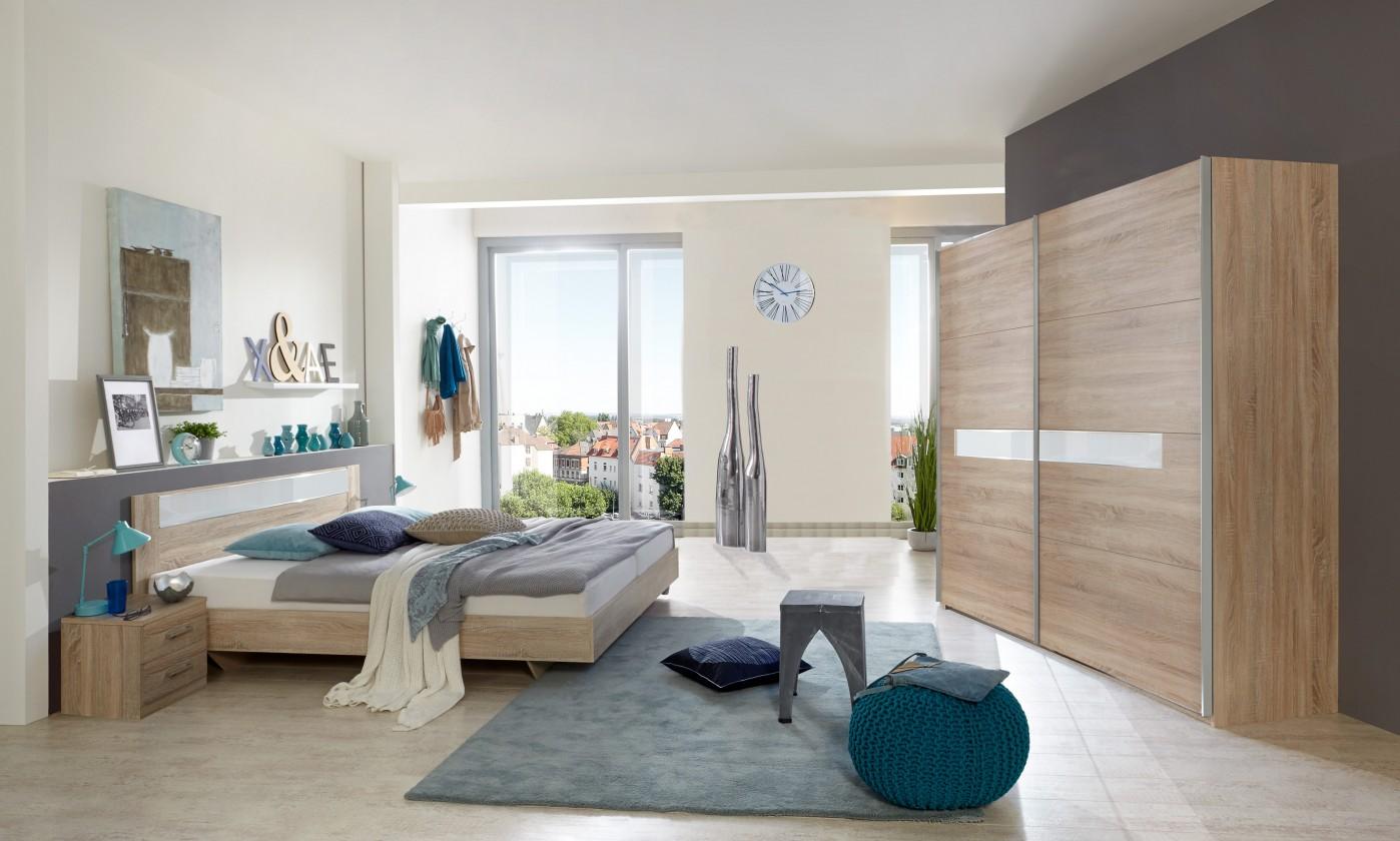 Ložnicový komplet Pamela - Komplet postel 160,skříň 225cm,stolky (dub,sklo,chrom)