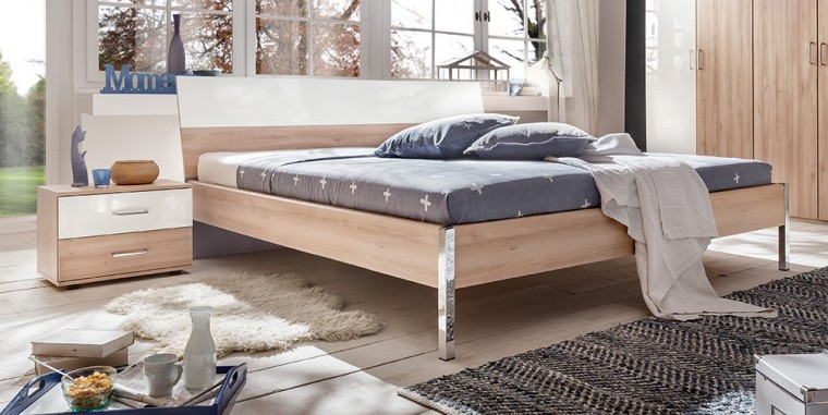 Ložnicový komplet Rio - Komplet, postel 180 cm (buk/bílý lesk)