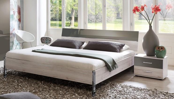 Ložnicový komplet Rio - Komplet, postel 180 cm (dub bílý/macchiato lesk)
