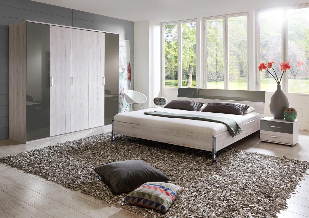 Ložnicový komplet Rio - Komplet velký, postel 180 cm (dub bílý/macchiato lesk)