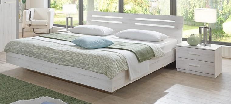 Ložnicový komplet Susan - komplet, postel 180cm (bílý dub, chromové doplňky)