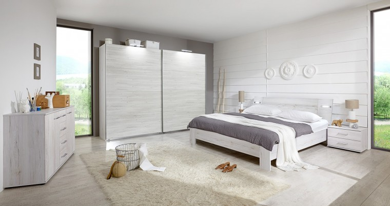 Ložnicový komplet Vicenza - Komplet velký 2, postel 180 cm (dub bílý)