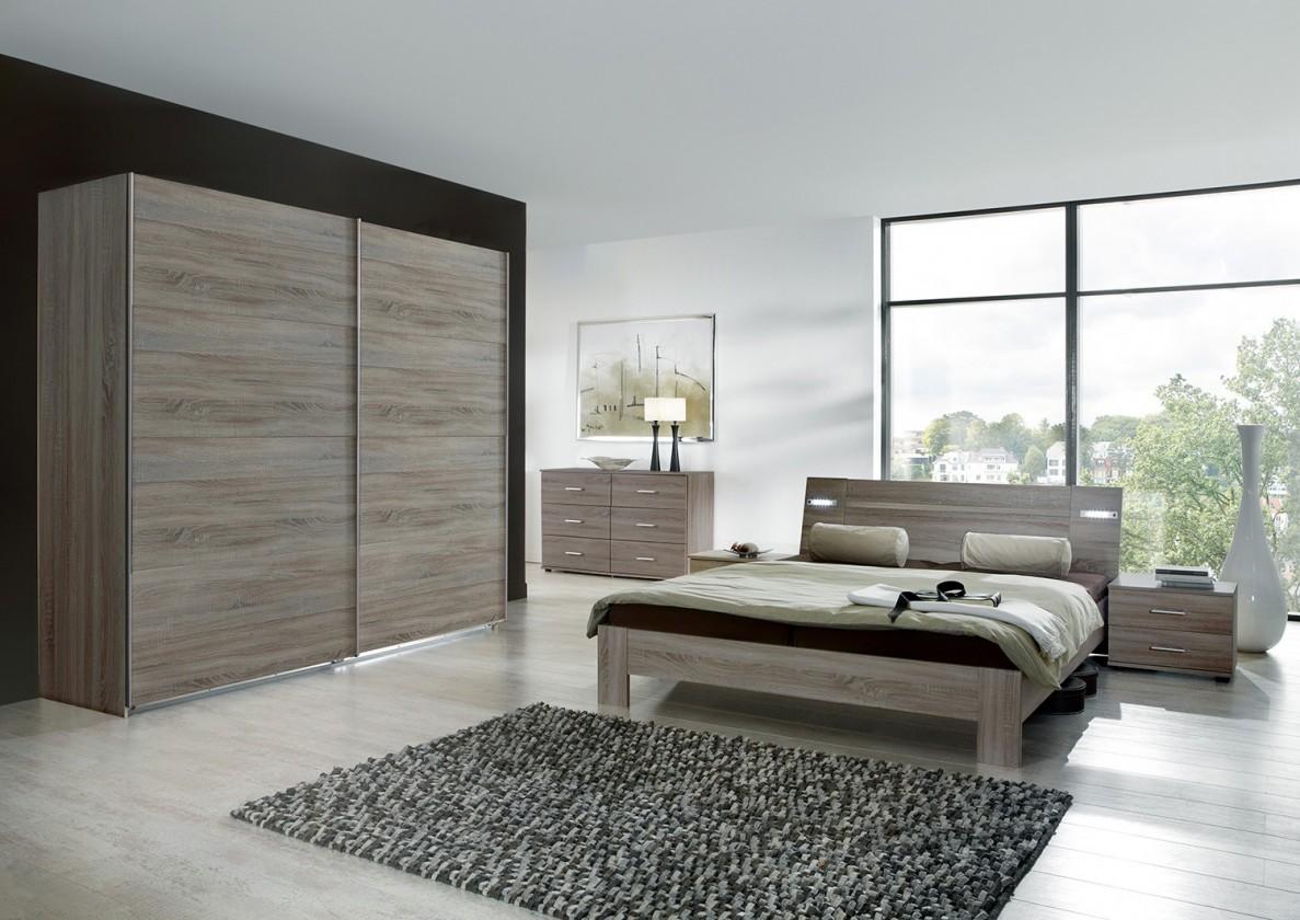Ložnicový komplet Vicenza - Komplet velký 2, postel 180 cm (dub montana)