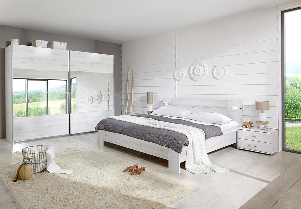 Ložnicový komplet Vicenza - Komplet velký 6, postel 160 cm (dub bílý)