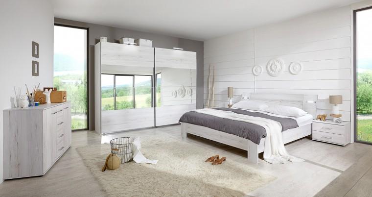 Ložnicový komplet Vicenza - Komplet velký, postel 180 cm (dub bílý)