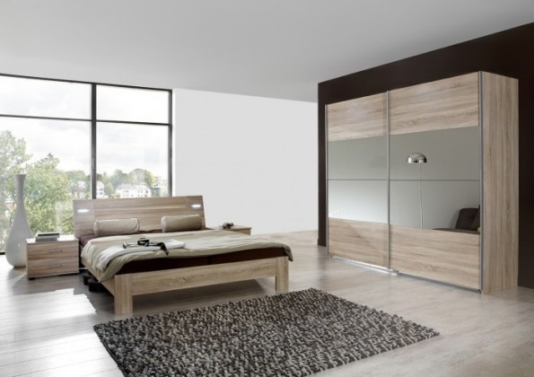 Ložnicový komplet Vicenza - Komplet velký, postel 180 cm (dub)