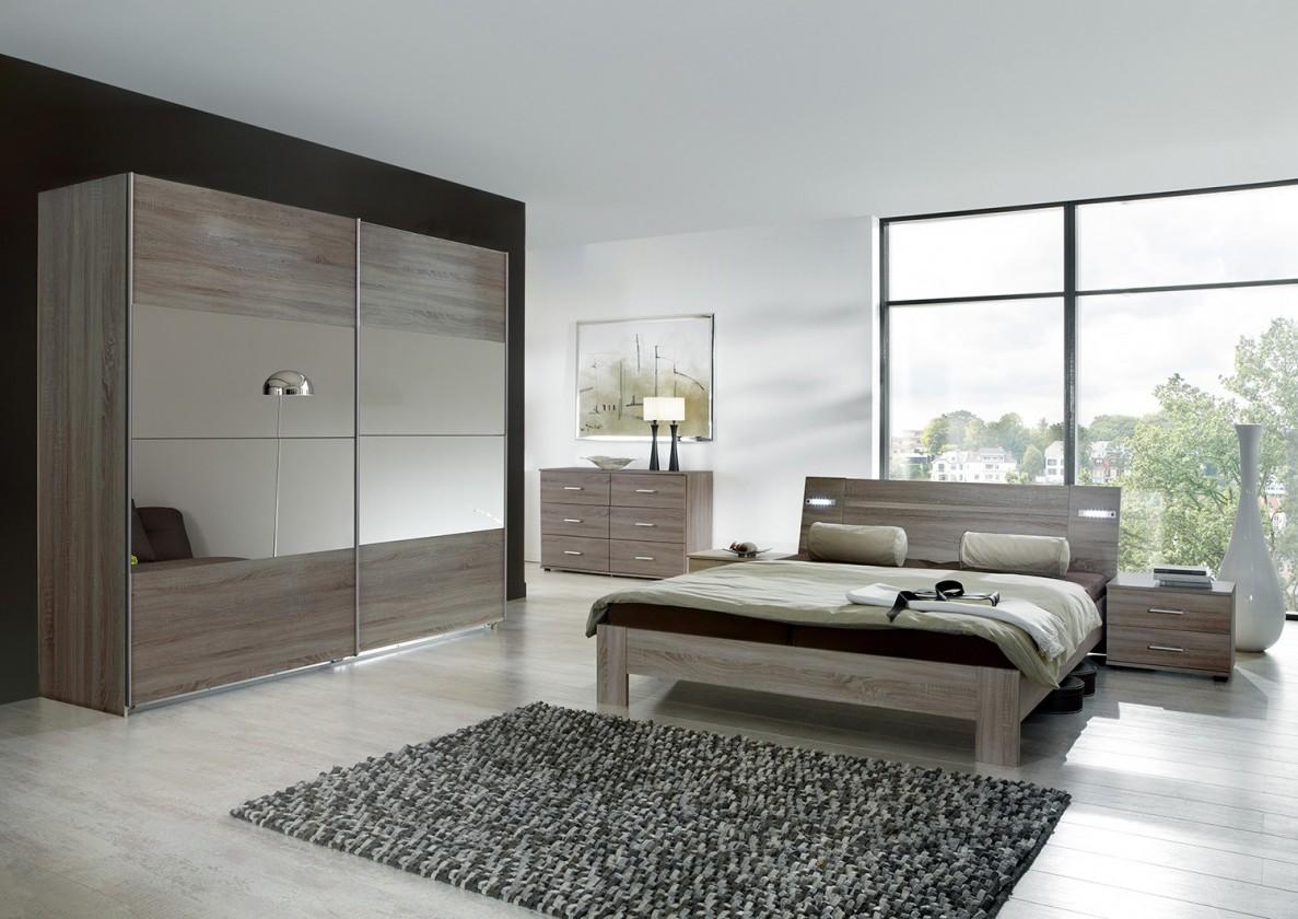 Ložnicový komplet Vicenza - Komplet velký, postel 180 cm (dub montana)