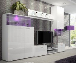 Luis - Obývací stěna, police, RTV komoda (bílá)