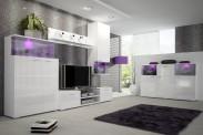 Luis - Obývací stěna, police, RTV komoda, komoda, světlo (bílá)