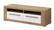 Lumi - TV stolek, 2 zásuvky (dub beaufort, bílý lesk)