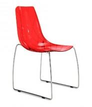Lynea-t - Jídelní židle (červená transparentní) - II. jakost