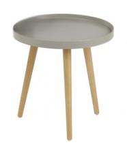 Malaga - Konferenční stolek kruhový, dřev. nohy (béžová, dřevo)