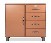 Malibu - Komoda (měděná, 1x dveře, 4x zásuvka)