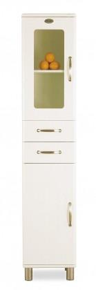 Malibu - Vitrína (bílá, 1x skleněné, 1x plné dveře, 2x zásuvka)