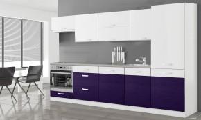 Manhattan - Kuchyňský blok 300 cm (bílá/fialová lesk)