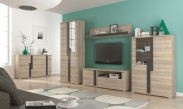 Markus - Obývací stěna, 2x vitrína, komoda, LED (dub sonoma)