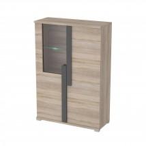 Markus - Vitrína, malá, sklo, 2x dveře, LED (dub sonoma)