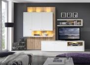 Marlow - Obývací stěna (bílá/bílá lesk/dub)