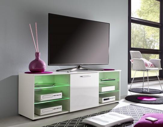 Mediathek - TV stolek 320 (bílá mat/bílá vysoký lesk)