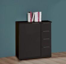 Medina - Komoda, 4x zásuvka, 1x dveře (lava černá)