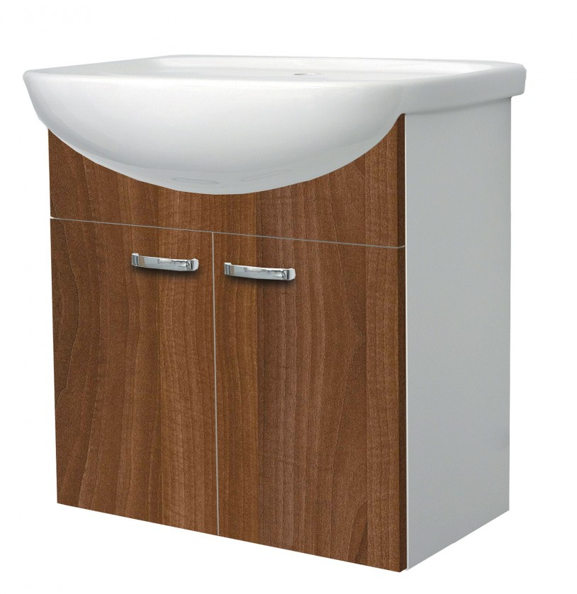 Melbourne - Skříňka s umyvadlem 60cm (bílá/ořech)