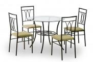 Merton - Stůl kulatý + 4 židle (černá, cappuccino)
